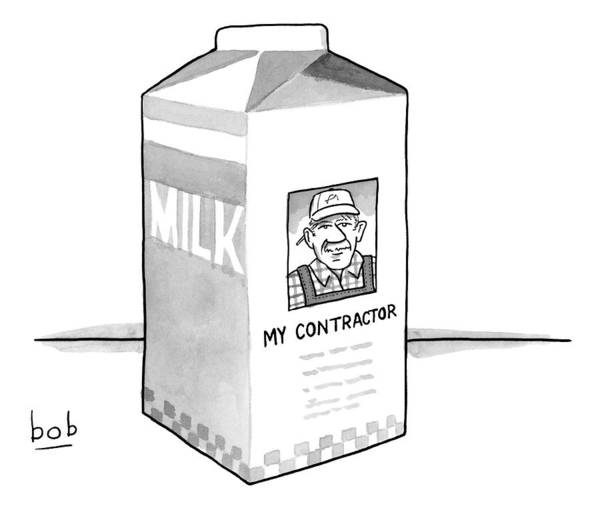 Side Drawing - A Carton Of Milk Sits On A Table With A Photo by Bob Eckstein
