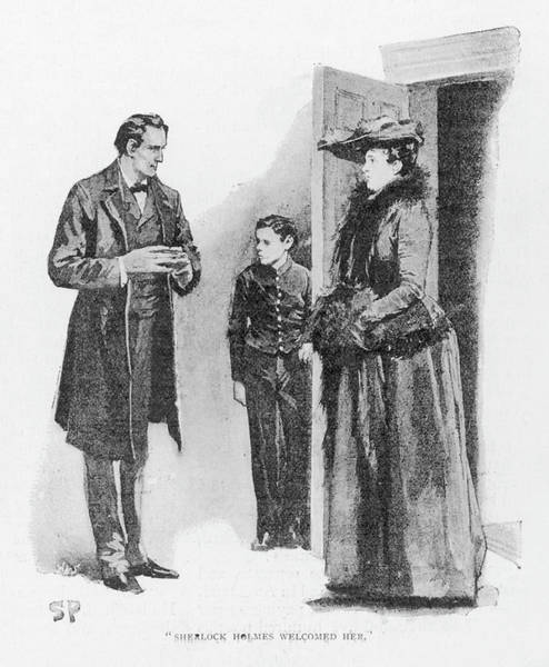 Wall Art - Drawing - A Case Of Identity  Holmes Receives by Mary Evans Picture Library