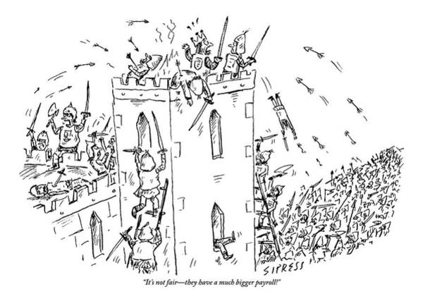Battle Drawing - A Castle Is Overwhelmed And Outnumbered by David Sipress
