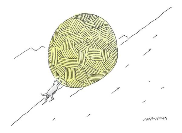 A Cat Pushes A Ball Of Yarn/string Up A Hill Like Art Print