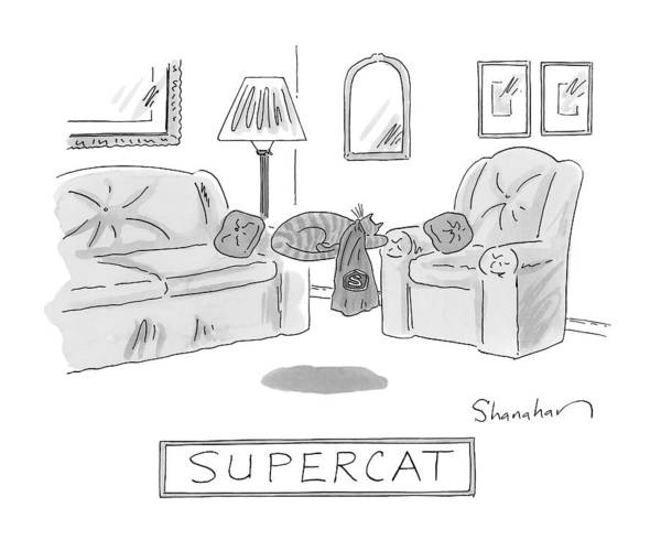 Cats Drawing - A Cat With A Cape Is Seen Sleeping And Levitating by Danny Shanahan