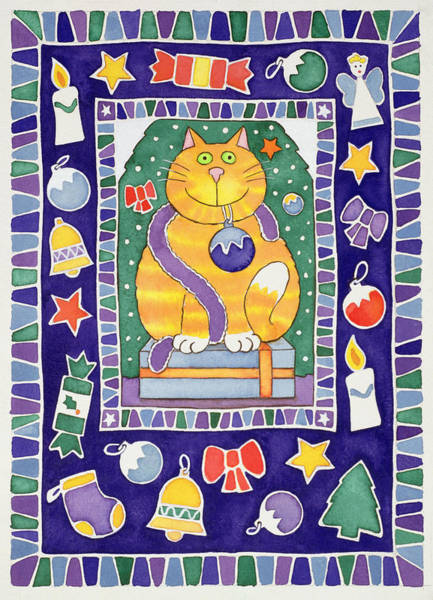 Wall Art - Photograph - A Cats Christmas, 1995 Wc by Cathy Baxter