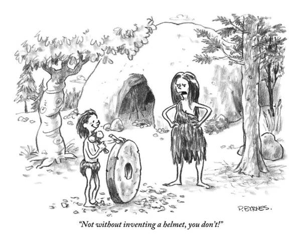 Helmet Drawing - A Cave Woman Addresses Her Son by Pat Byrnes