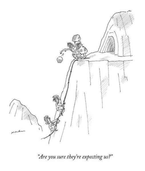 Parties Drawing - A Caveman And Woman Climb Up A Cliff by Michael Maslin