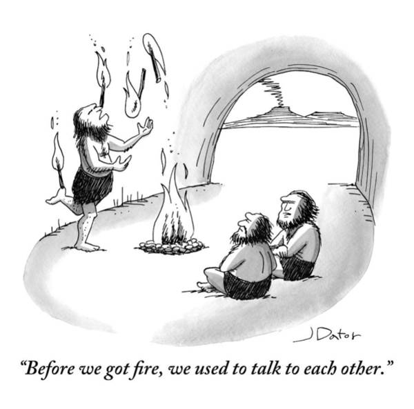 Cave Dwellers Drawing - A Caveman Is Juggling Sticks Of Fire While Two by Joe Dator