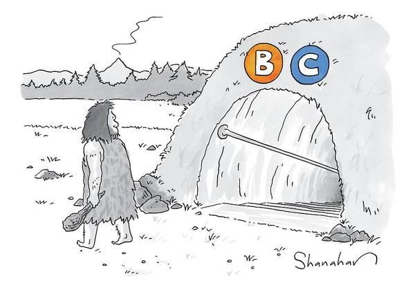 Subway Drawing - A Caveman Walks Past A Tunnel Labeled Bc by Danny Shanahan