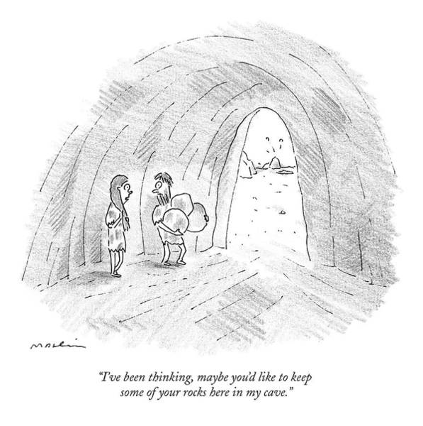 Thinking Drawing - A Cavewoman Talks To A Caveman Who Is Leaving by Michael Maslin