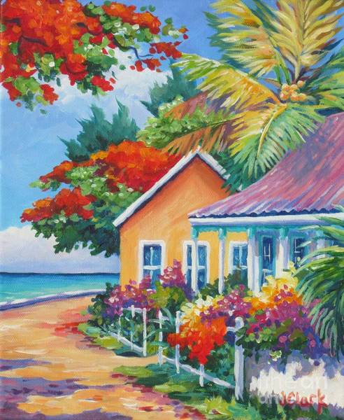 Wall Art - Painting - A Cayman Street In Summer by John Clark