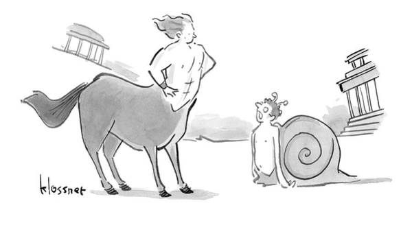 Mythology Drawing - A Centaur With His Hands On His Hips Faces by John  Klossner