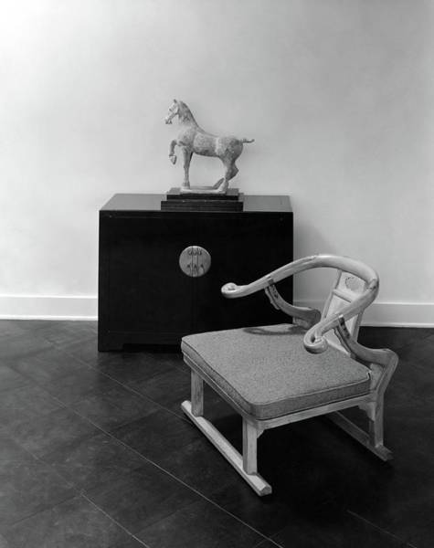 Tile Floor Photograph - A Chair, Bedside Cabinet And Sculpture Of A Horse by Haanel Cassidy