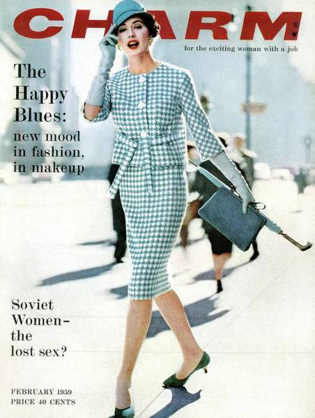 Footpath Photograph - A Charm Cover Of A Model In A Checked Suit by William Helburn