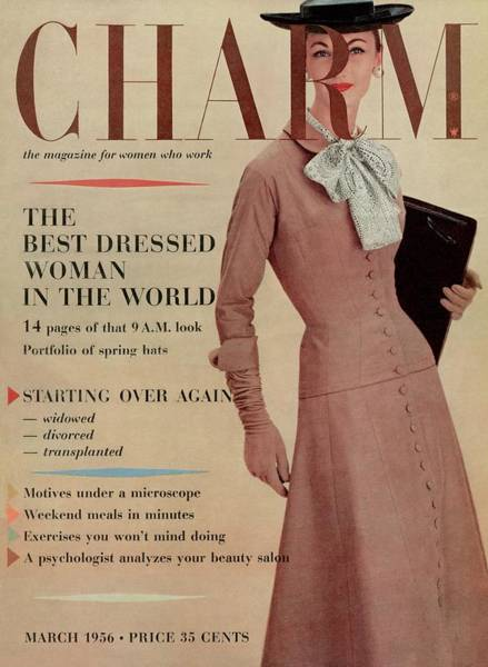 Old People Photograph - A Charm Cover Of A Model In Designer Clothing by Louis Faurer