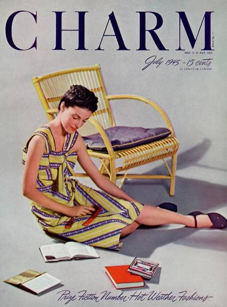 1945 Photograph - A Charm Cover Of A Model With Books by Roedel-Farkas