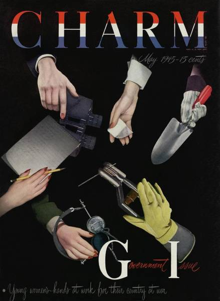 Group Of People Photograph - A Charm Cover Of Women's Hands Reaching For Tools by George Karger