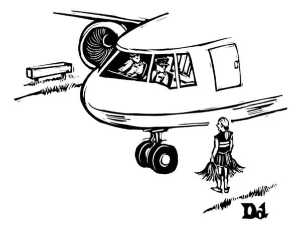 Pilots Drawing - A Cheerleader Standing On The Tarmac Addresses by Drew Dernavich