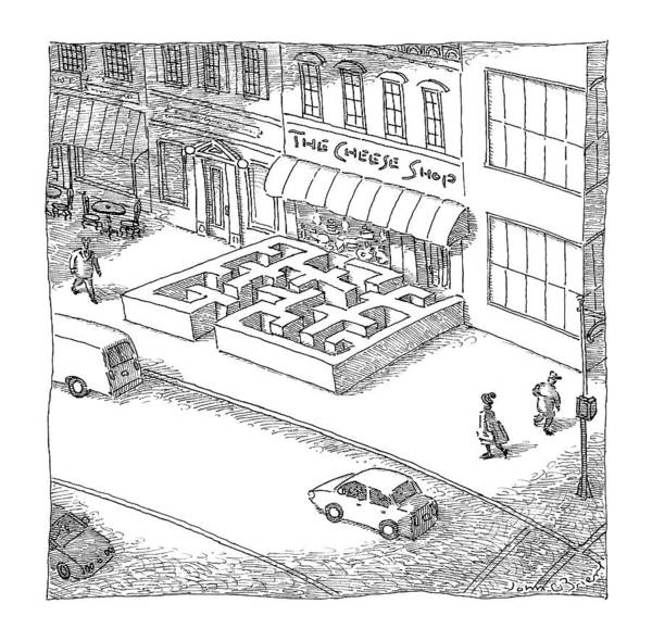 Cheese Drawing - A Cheese Shop Has The Exterior Of A Mouse Maze by John O'Brien