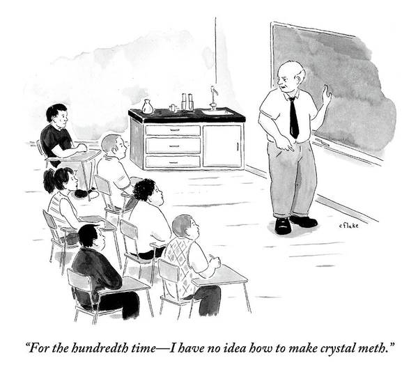 School Drawing - A Chemistry Teacher Addresses His Students by Emily Flake