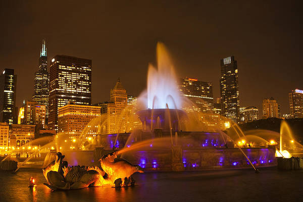Water Fountain Photograph - A Chicago Twilight by Andrew Soundarajan