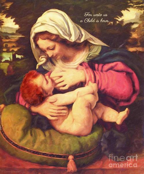 Virgin Digital Art - A Child Is Born by Lianne Schneider