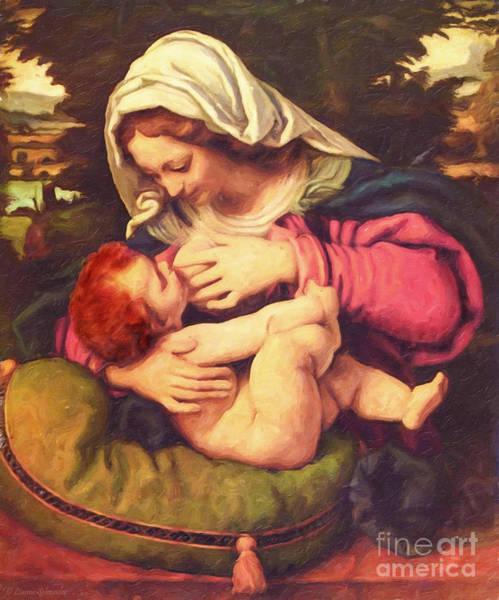Virgin Digital Art - A Child Is Born No Text by Lianne Schneider