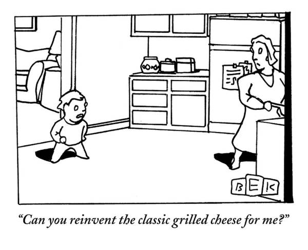 Cheese Drawing - A Child Questions His Mother In The Kitchen by Bruce Eric Kaplan