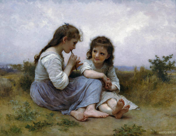 Childhood Digital Art - A Childhood Idyll by William Bouguereau