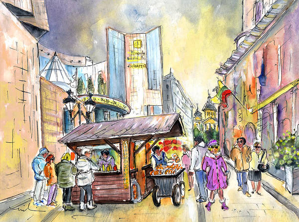 Painting - A Chimney Cake Stand In Budapest by Miki De Goodaboom