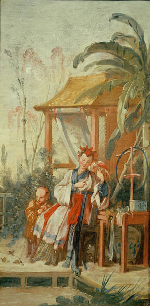 Jardin Photograph - A Chinese Garden, Study For A Tapestry Cartoon, C.1742 Oil On Canvas by Francois Boucher