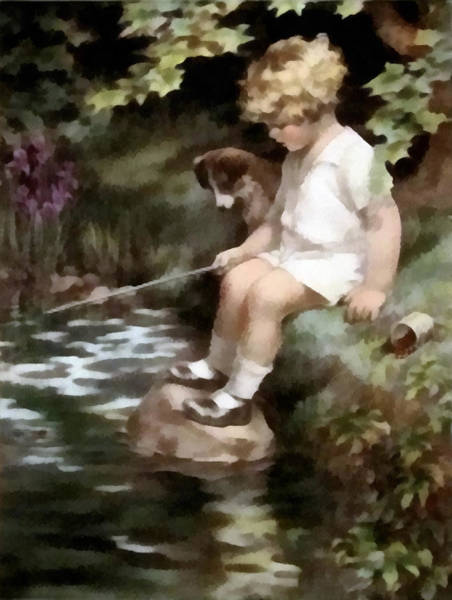 Fishing Pole Digital Art - A Chip Off The Old Block by Bessie Pease Gutmann
