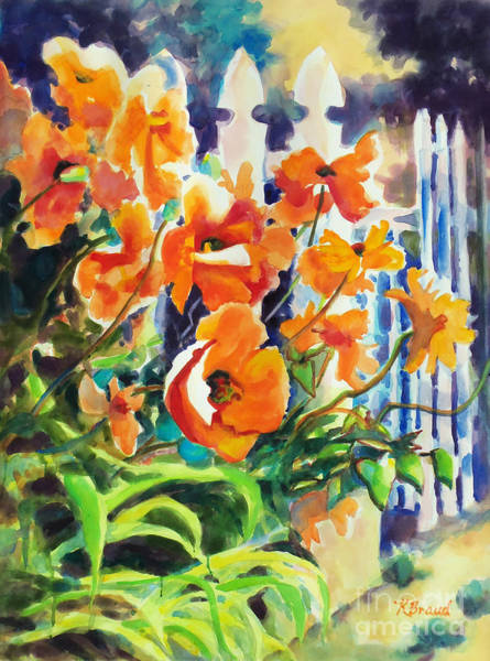 White Picket Fence Painting - A Choir Of Poppies by Kathy Braud