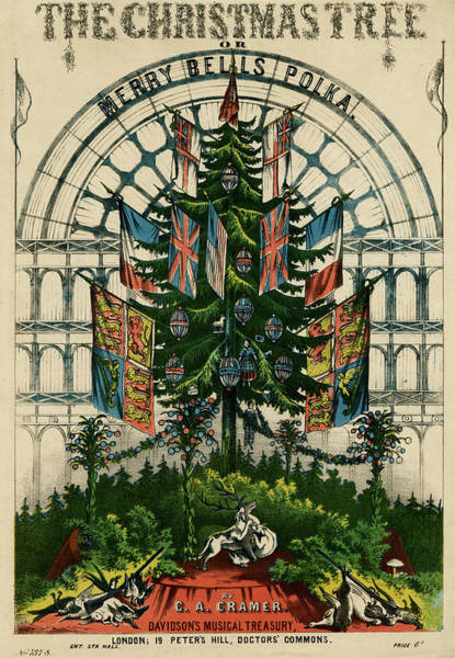 Christmas Tree Drawing - A Christmas Tree Decorated With by Mary Evans Picture Library