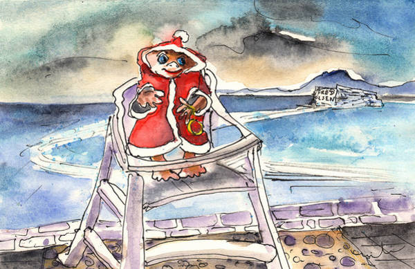 Painting - A Christmas Troll In Lanzarote by Miki De Goodaboom