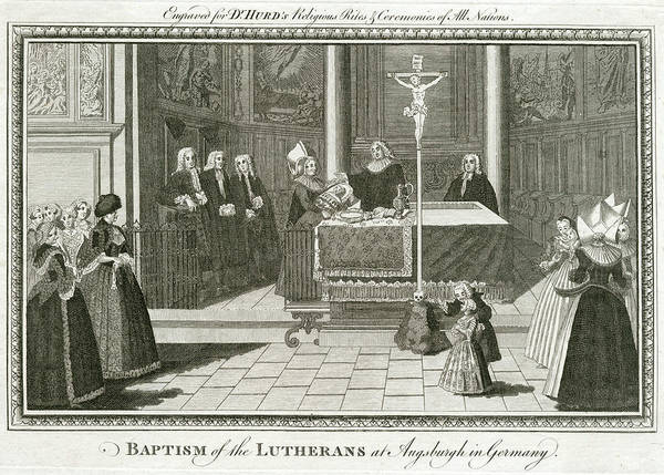 Wall Art - Drawing - A Church Baptism Among The  Lutherans by Mary Evans Picture Library