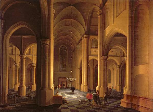 Chandelier Photograph - A Church Interior by Anthonie de Lorme
