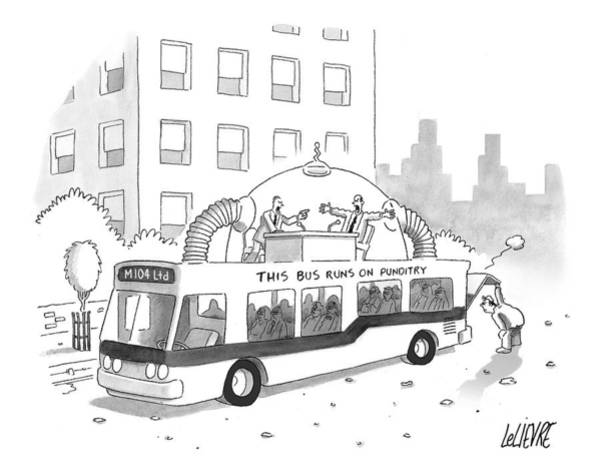Hot Drawing - A City Bus Is Seen With A Rooftop Bubble by Glen Le Lievre