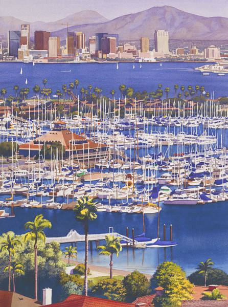 Yacht Wall Art - Painting - A Clear Day In San Diego by Mary Helmreich