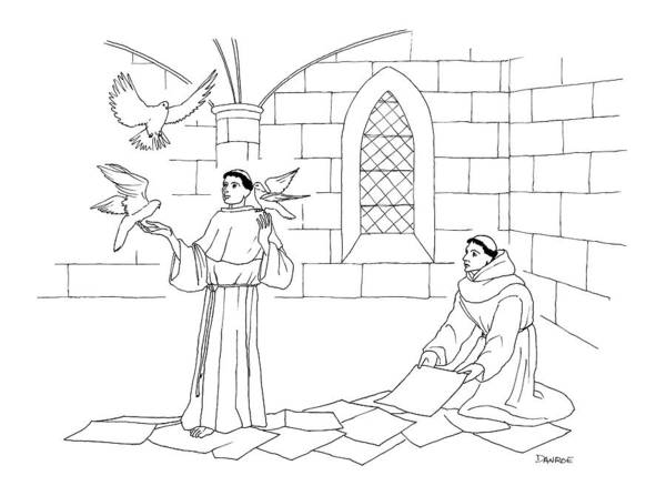 Train Drawing - A Clergyman Handles Three Doves/pigeons by Dan Roe
