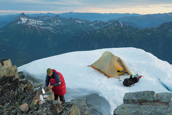 Pemberton Photograph - A Climber Preparing A Hot Drink While by Christopher Kimmel