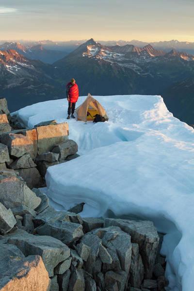 Pemberton Photograph - A Climber Standing Near Tent by Christopher Kimmel