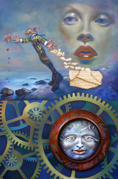 Wall Art - Painting - A Clockwerk Moone Is A Harsh Mistress by Patrick Anthony Pierson