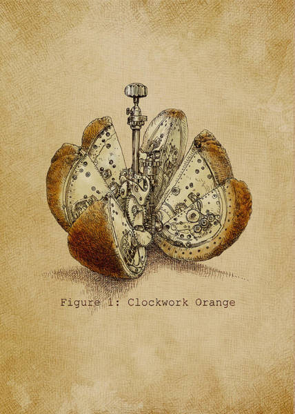 Clock Wall Art - Drawing - Steampunk Orange - Option by Eric Fan