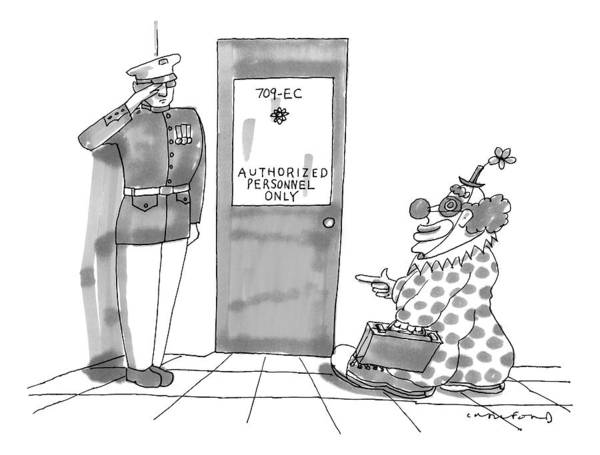 Personnel Drawing - A Clown Is Seen Walking Into A Door Which Says by Michael Crawford