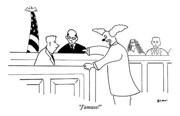 Court Drawing - A Clown Points An Accusatory Finger At A Man by Michael Shaw