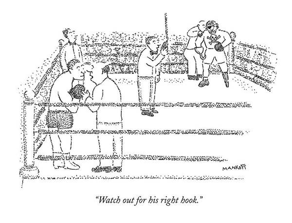 Boxing Drawing - A Coach Whispers To A Boxer Who Is About To Fight by Robert Mankoff
