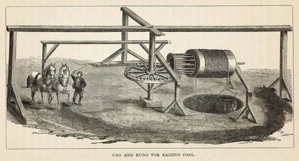 Rungs Wall Art - Drawing - A Cog And Rung Mechanism For  Raising by Mary Evans Picture Library