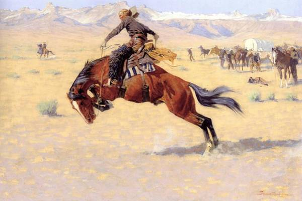 Bucking Bronco Digital Art - A Cold Morning On The Range  by Frederic Remington