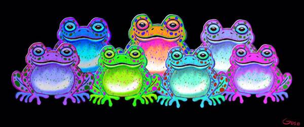 Wall Art - Painting - A Colorful Collection Of Spotted Frogs by Nick Gustafson