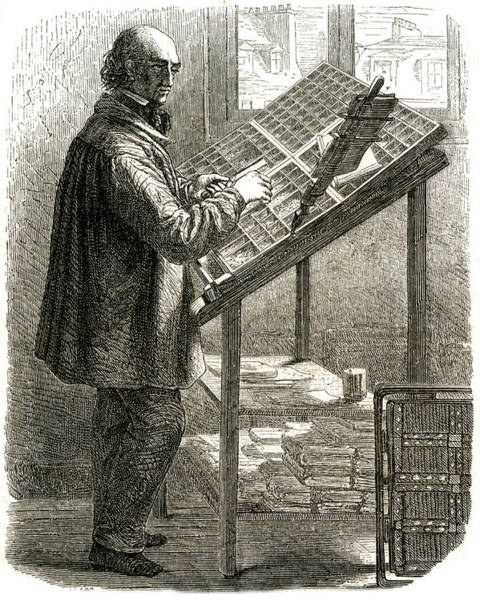 Wall Art - Drawing - A Compositor At Work In Pre- Mechanical by Mary Evans Picture Library