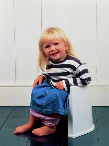 Toilet Photograph - A Constipated Young Girl Using A Potty by Ron Sutherland/science Photo Library