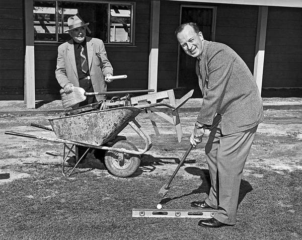 Photograph - A Construction Golfer by Underwood Archives